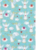 Les anges de Noël fond turquoise (68x98)