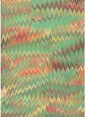 Papier marbré vert et rouge (70x100)