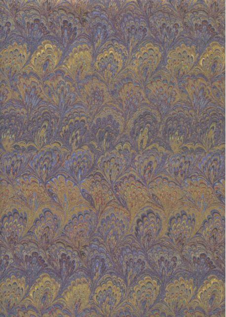 Papier reliure bleu violine et or (50x70)