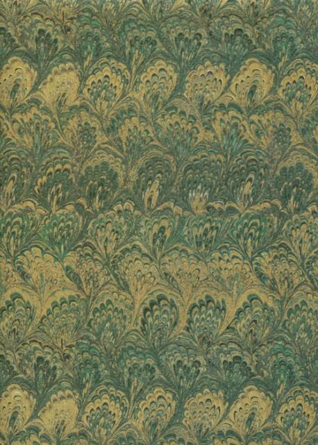 Papier reliure vert et or (50x50)
