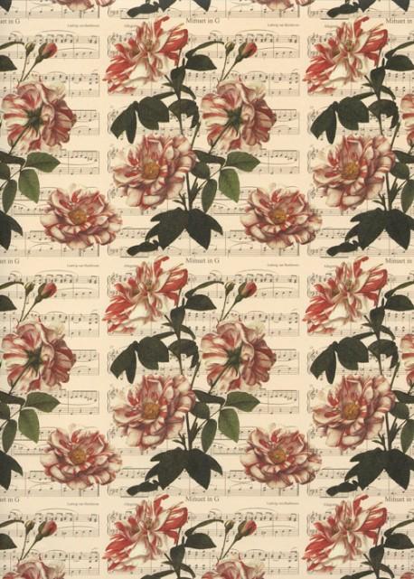 Bouquets sur fond de partitions (50x70)