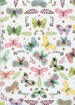Planche de papillons réhaussé argent (50x70)