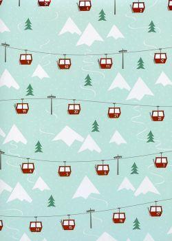 Le téléphérique de Noël métallisé rouge (50x70)