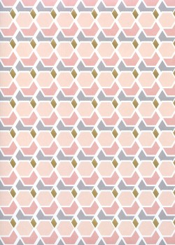 La géométrie ambiance rose poudré réhaussé or (68x98)