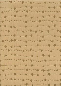 Guirlandes d'étoiles or vif fond kraft (68x98)