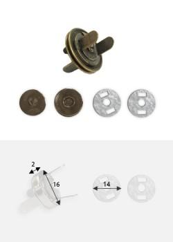 op magnétique extra-plat bronze (Ø16mm)