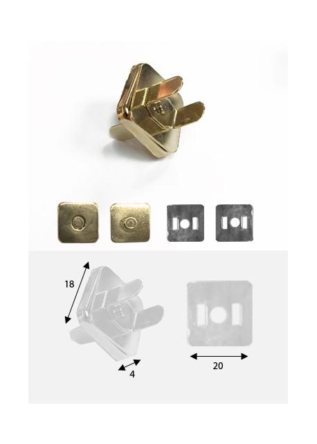 Top magnétique carré doré (18x18mm)