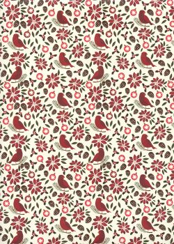 Les oiseaux de Noël et pommes de pin (70x100)