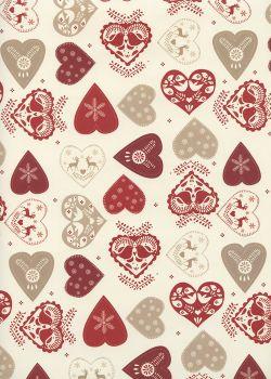 Les coeurs de Noël ambiance rouge (70x100)