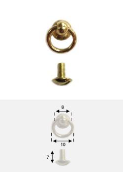 """Anneau belière or """"redoré"""" Ø8mm + vis"""