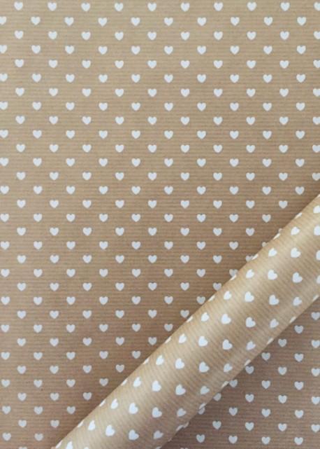 """""""Kraft fantaisie"""" Petis coeurs blanc (70x100)"""