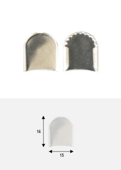 Embouts de bride rond argent GM (15x16mm)