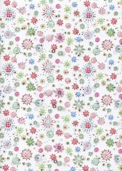 Semis de petites fleurs acidulées réhaussé argent (50x70)