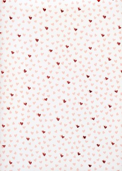Semis de coeurs réhaussé métallisé rouge (50x70)