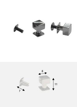 Boutons cube canon de fusil + vis (8x8mm H: 11mm)