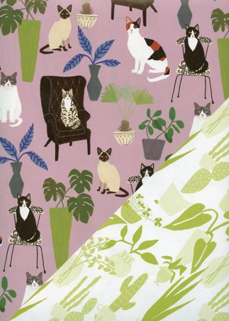 "Recto verso ""Les chats / les plantes"" (50x70)"