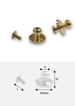 "Boutons or ""redoré"" sur platine + vis (15x8 H: 10mm))"