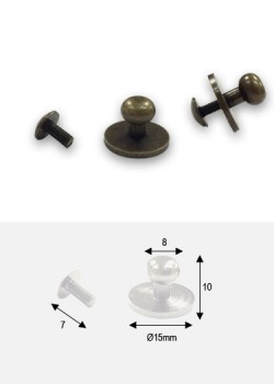 Boutons bronze sur platine + vis (15x8 H: 10mm)