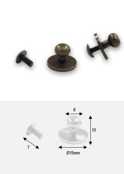 Boutons bronze sur platine + vis (15x8 H: 10mm) - Lot de 4