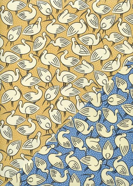 """Recto verso """"Les ibis fond jaune / les ibis fond bleu"""" (50x70)"""