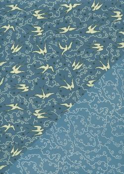 """Recto verso """"Les oiseaux fond bleu / les nuages fond bleu clair """" (50x70)"""