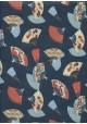 Les éventails sur fond bleu réhaussé or (50x70)