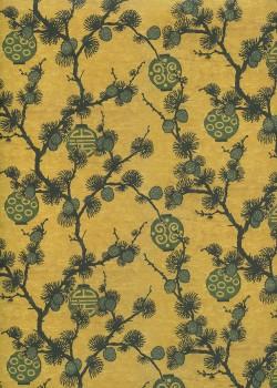 Lanternes japonaises sur fond jaune moutarde (50x70)