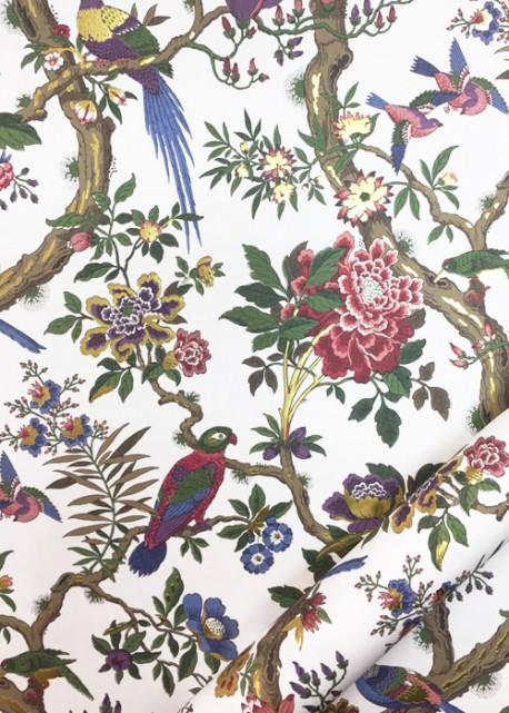 Tapisserie japonaise aux oiseaux réhaussé doré (50x70)