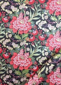 Tapisserie floral verte et corail fond noir réhaussé or (50x70)