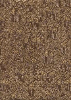Les girafes or sur fond chocolat (50x70)