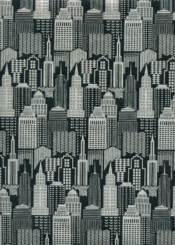 """""""Building"""" argent fond noir (50x70)"""