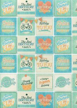 Damier happy birthday menthe et turquoise réhaussé argent (68x98)*