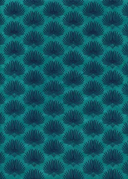 Lokta palmes fond turquoise (50x75)