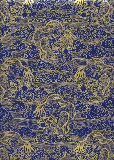 Lokta dragons dorés sur fond bleu électrique (50x75)