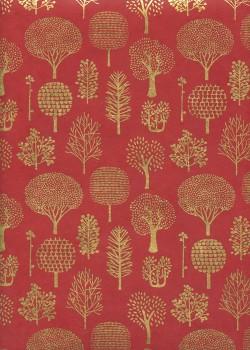 Lokta forêt or fond rouge (50x75)
