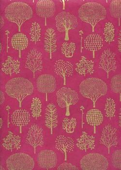 Lokta forêt or fond pourpre rose (50x75)