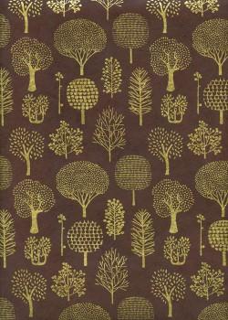 Lokta forêt or fond chocolat (50x75)
