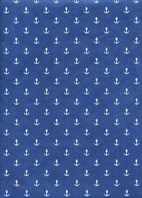 Lokta ancres blanches fond bleu (50x75)