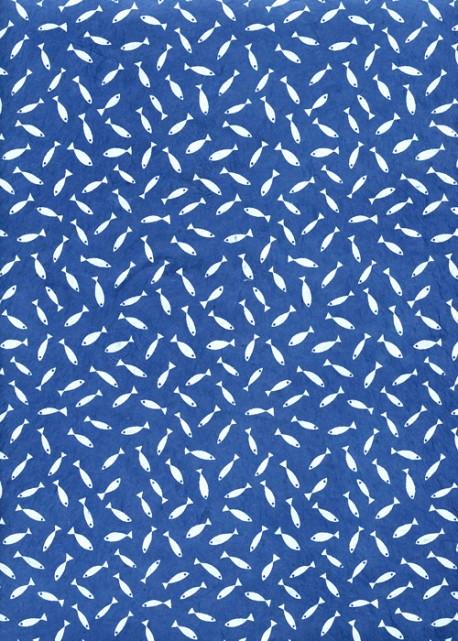 Lokta petits poissons blancs fond bleu (50x75)