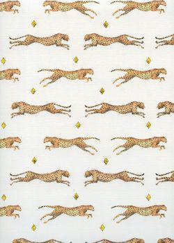 Les guépards fond toilé ivoire réhaussé de triangles or (68x98)