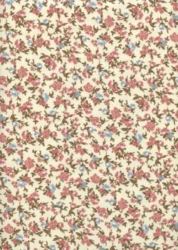"""""""Toile enduite"""" bouquets bleus et vieux rose (48x100)"""