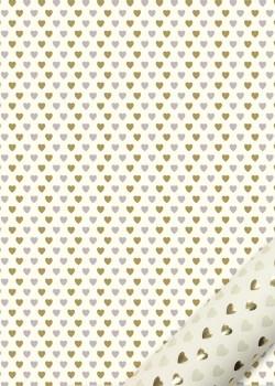 """""""Semis"""" les coeurs beiges et dorées (50x70)"""