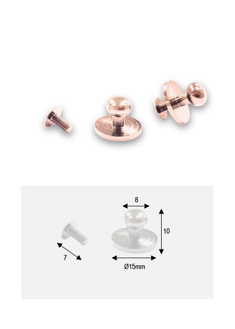 Boutons argent sur platine + vis (15x8 H: 10mm)