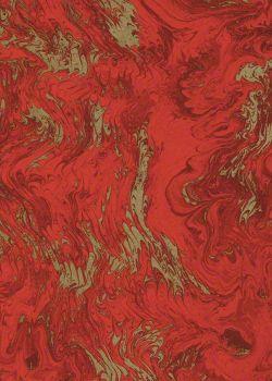 Marbré peigné rouge brique et or (70x100)