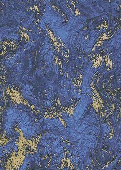 Marbré peigné marine et or (70x100)