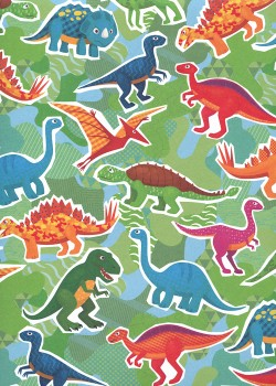 Les dinosaures multicolores fond vert (68x98)