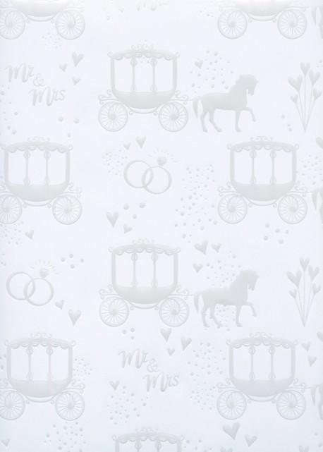 Le mariage en carosse blanc nacré fond blanc (68x98)