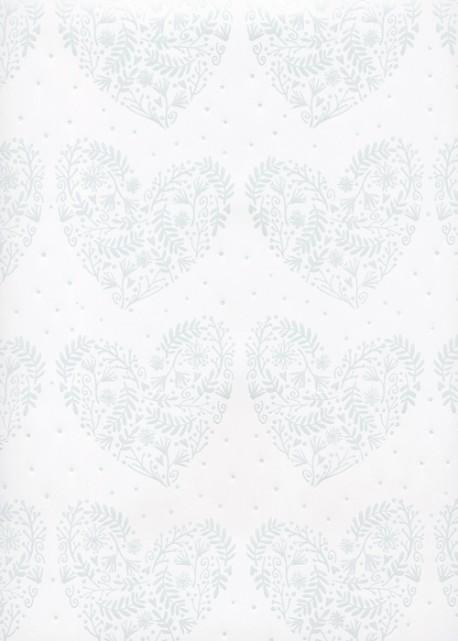 Les coeurs en feuillage blanc nacré sur fond blanc (68x98)