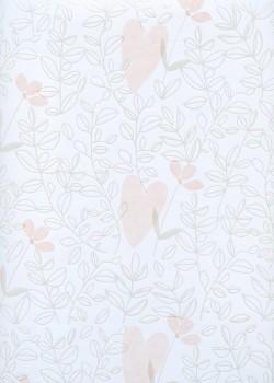 Coeurs et feuillage ambiance pastel (68x98)