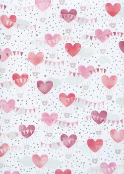 Montgolfières de coeurs ambiance rouge et argent (68x98)
